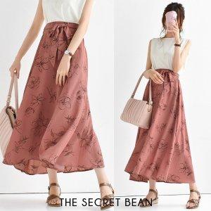 【ゆうパケ】2color◆サッシュリボン付 手書き風花柄フレアスカート