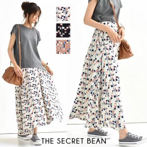 【ゆうパケ】3color◆幾何学柄とろみフレアスカート