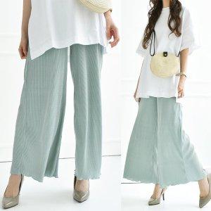 【ゆうパケ】5color◆細プリーツ裾メロウワイドパンツ
