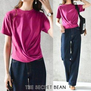【ゆうパケ】二重地天竺フロントツイストTシャツ(ピンク)