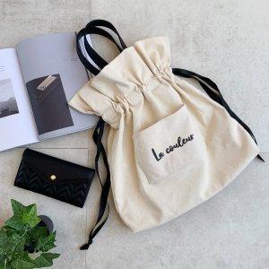 3way◆合皮ハンドル 巾着キャンバストートバッグ