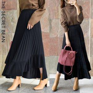 【秋物新作】【ゆうパケ】2color◆イレギュラー裾切替プリーツスカート
