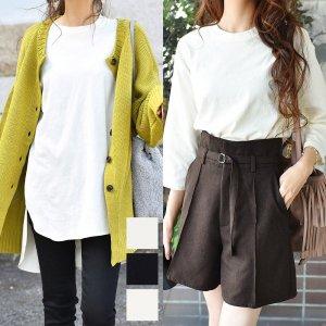 【ゆうパケ】5color◆裾前後差オーバーサイズ7分袖チュニックTシャツ