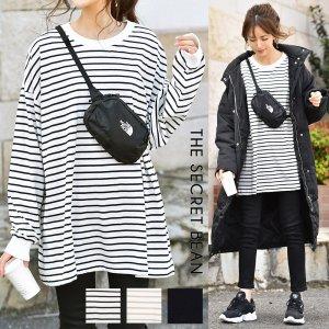 【ゆうパケ】3color◆オーバーサイズ袖リブ長袖Tシャツ