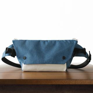 ONE SHOULDER Blue Nylon × Leather
