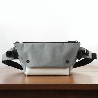 ONE SHOULDER Gray Nylon × Leather