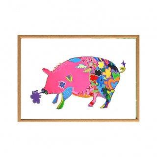 幸せのピンクのブタさん / セミオーダー (A3)