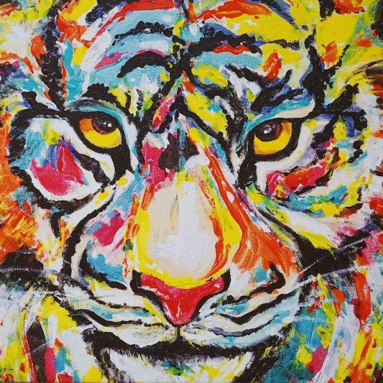 虎,絵,アート