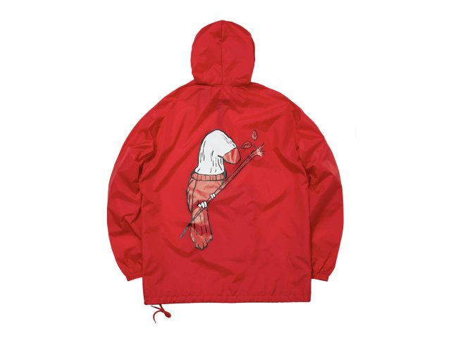 SOCK BIRD NYLON PACKABLE ANORAK RED