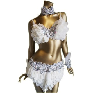 羽xキラキラビーズスパンコール装飾 ダンサー衣装4点セットホワイトVer.[送料無料]