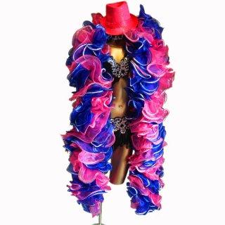 ピンクとロイヤルブルーMIX BIGボリューミーマラボー!シルバースパンコール装飾 バーレスクやポールダンスなど【送料無料】