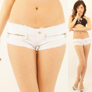 履きやすい伸縮ストレッチ GOLDジップ ホワイトショートパンツ