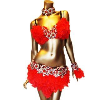 本物の羽ダンサー衣装4点セット レッド ビーズスパンコール装飾[送料無料]