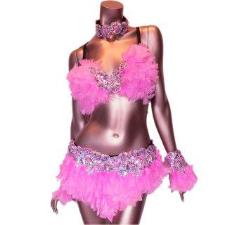 本物の羽ダンサー衣装4点セット ピンク ビーズスパンコール装飾[送料無料]