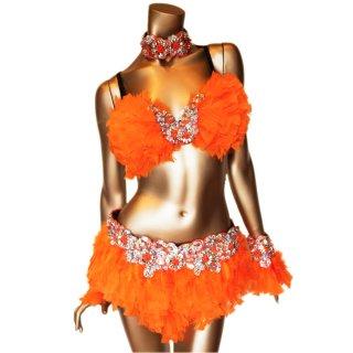 本物の羽 ダンサー衣装4点セット  パッションなオレンジカラ— ビーズスパンコール[送料無料]