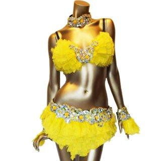 本物の羽 ダンサー衣装4点セット 色鮮やかなイエローカラ— ビーズスパンコール[送料無料]