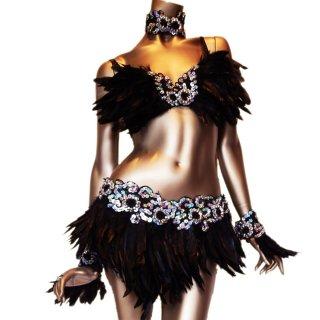 ブラックスワン ダンサー衣装4点セット シルバービーズスパンコール 羽装飾[送料無料]