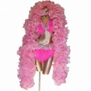 迫力あるBIGサイズ ベビーピンクのボリューミーマラボー プロのバーレスクダンサ-にもおすすめ[送料無料]