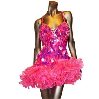 ネオンベビーピンクの大きなオーバルスパンコール ボリューミーチュールスカートドレス【送料無料】