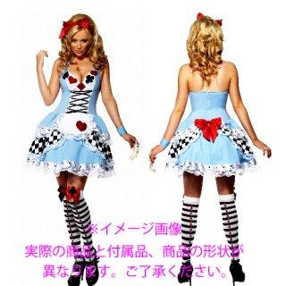 カワイイ♪ライトブルーのアリスモチーフ☆デザイン!コスチュームドレス☆3点セット♪カワイイ衣装コスプレ