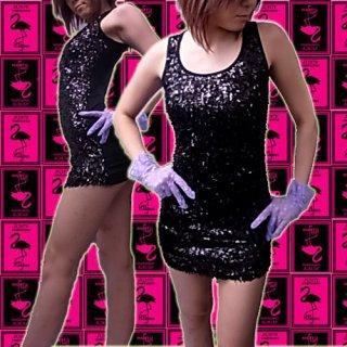 【SALE】スパンコール衣装タンクトップミニドレス