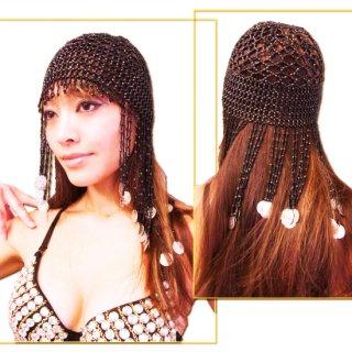 コイン付き ビーズネット帽子♪アラビアンヘアーアクセサリー