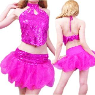 ふわふわチュールバルーンミニスカートの上下セットアップダンス衣装