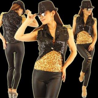 マイケル風ダンス衣装ビス付スパンコール燕尾型ベスト