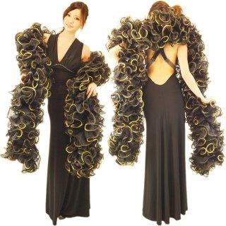 プロのバーレスクダンサーご愛用BLACKにゴージャスなGOLDスパンコール装飾のBIGボリューミーマラボー!GOGOダンサーにもおすすめ【送料無料】