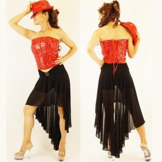 サルサラテン衣装シースルーアシンメトリー黒スカート