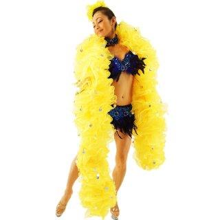 イエローBIGボリューミーマラボー 迫力あるBIGサイズ キラキラなコインビーズ装飾 プロのバーレスクダンサ-にもおすすめ[送料無料]
