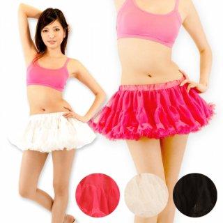 ショート丈 フリルパニエ チュチュ ミニ ピンク ホワイト ブラック ダンス 衣装 発表会 コスプレ スカート