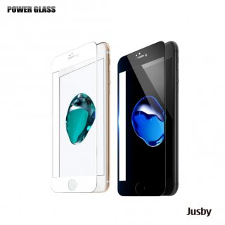 POWER GLASS 強化ガラス保護フィルム for iPhone 8 / iPhone 7  3Dハイブリット全面カバー (黒フレーム)