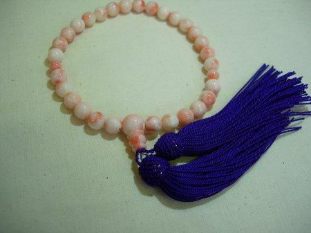 深海珊瑚(ピンク珊瑚) 片手数珠