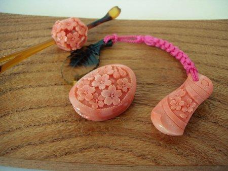 岡林秀豊作 和装小物3点 『桜花揃』 桃珊瑚 平成28年度四国伝統工芸入選作品