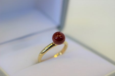 1級品 高知県産血赤珊瑚丸玉リング・指輪