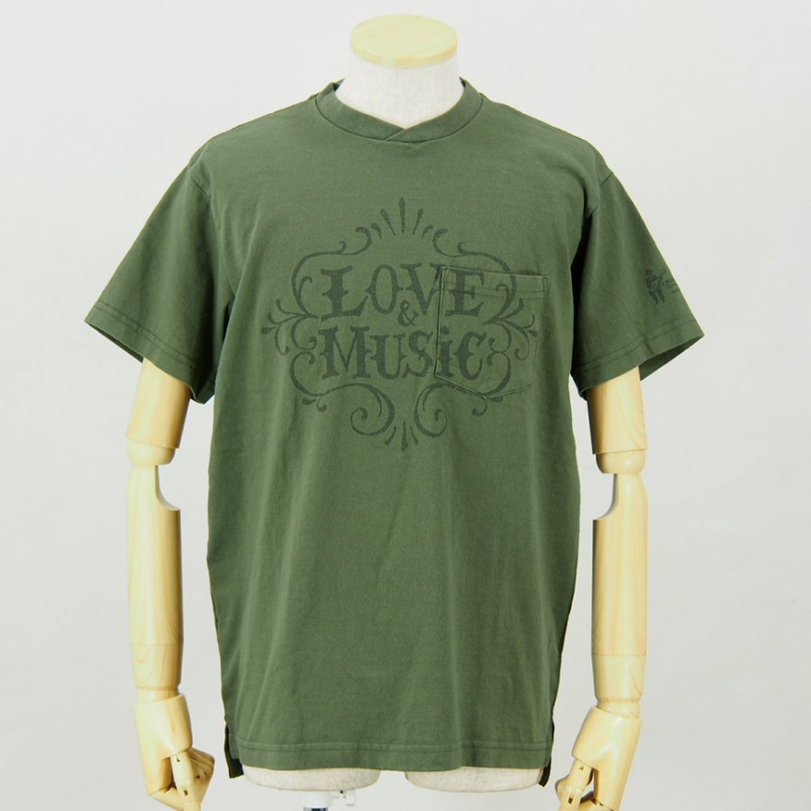 Engineered GarmentsPrinted Cross Crew Neck T-ShirtLove & MusicOlive