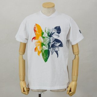 Engineered GarmentsPrinted Cross Crew Neck T-ShirtFloralWhite / Multi