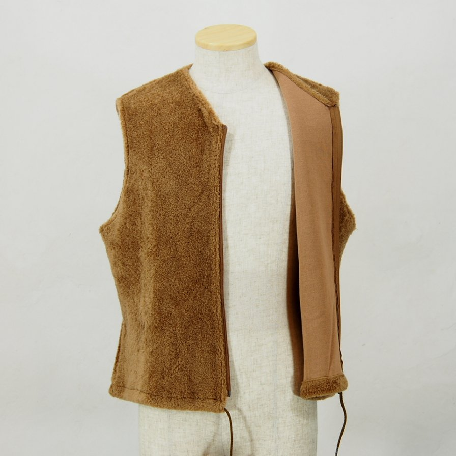 Needles Sportswear ニードルズ スポーツウェアー - Zipped Crew Vest - Pe/C Curl - Brown
