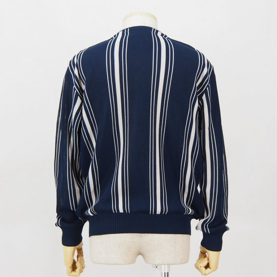 Needles - V Neck Cardigan -  Purl Stitch - 2 Colors Stripe - Navy