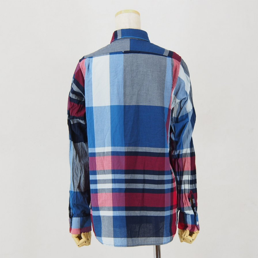 Engineered Garments - Short Collar Shirt for Woman - Big Madras Plaid - Navy/Red