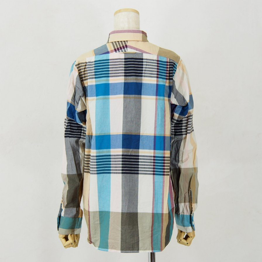 Engineered Garments - Short Collar Shirt for Woman - Big Madras Plaid - Khaki