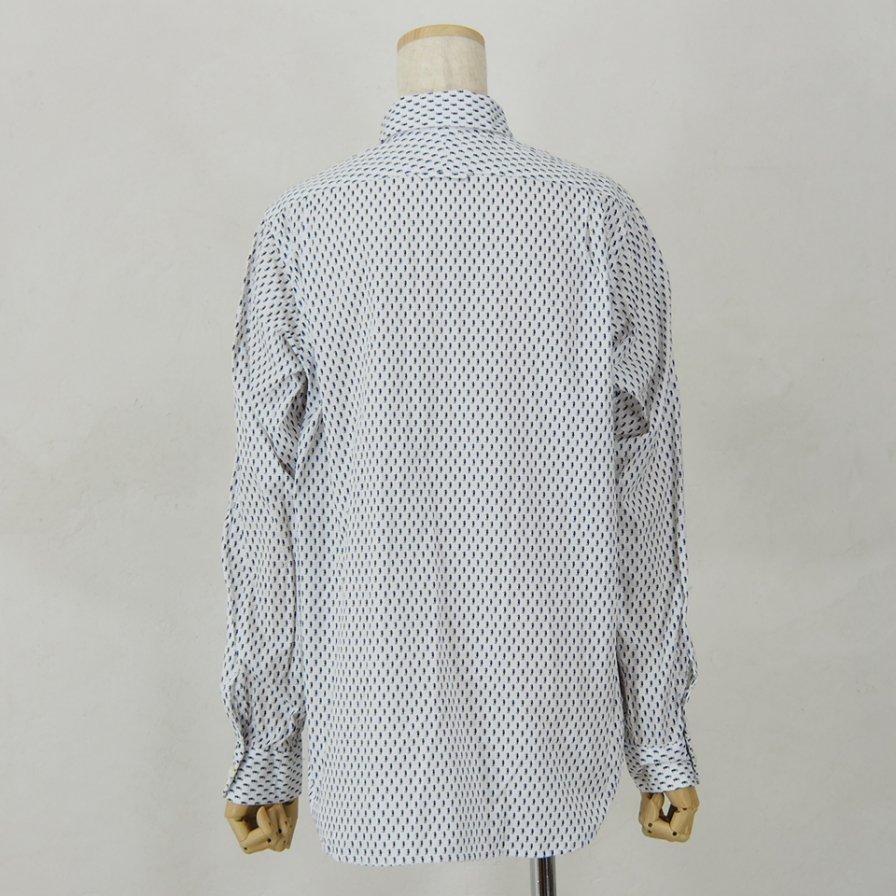 Engineered Garments - Short Collar Shirt for Woman - Seahorse Print - Navy/White