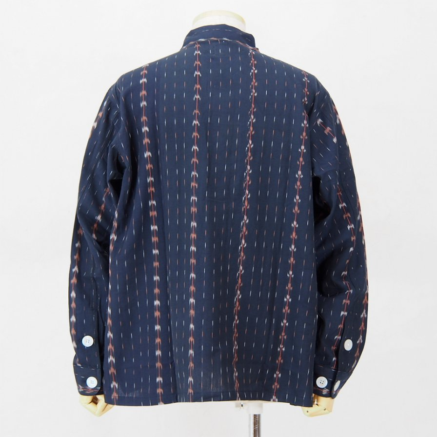 South2 West8 - Smokey Shirt - Cotton Cloth / Splashed Pattern - Navy
