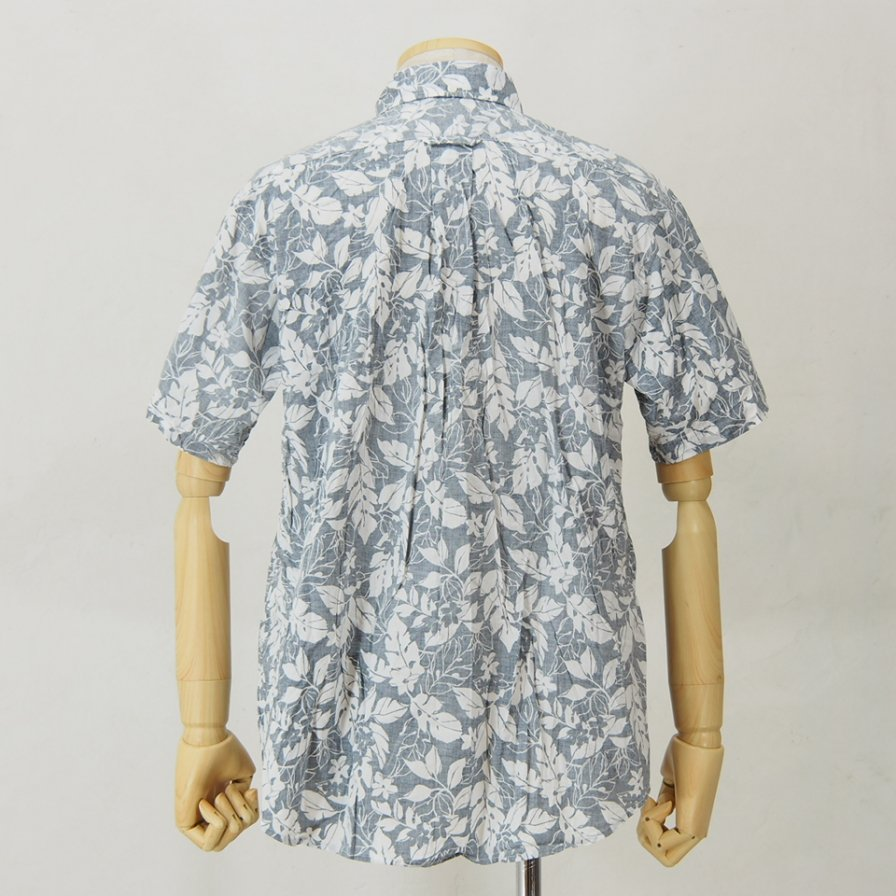 Engineered Garments - Popover BD Shirt - Floral Printed Lawn - Navy / White