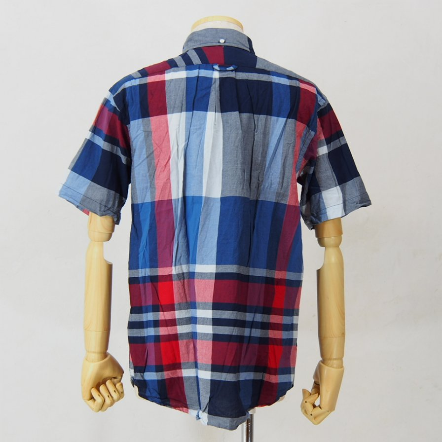 Engineered Garments - Popover BD Shirt - Big Madras Plaid - Navy / Red