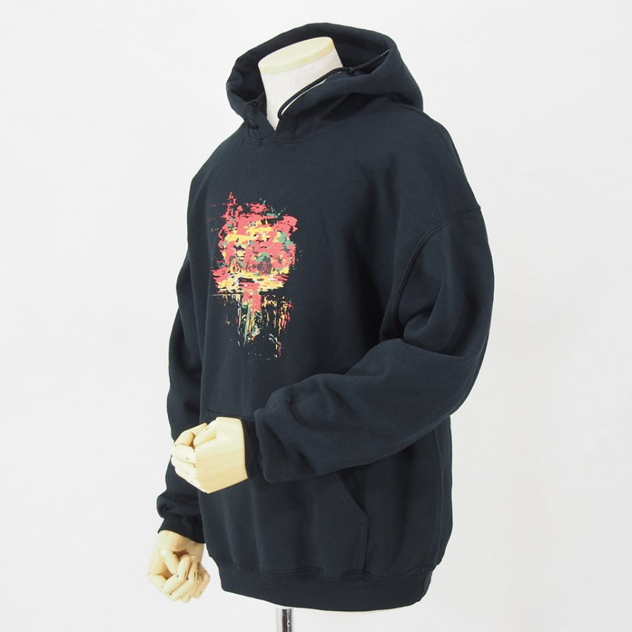 AiE - Printed Hoody - Flower - Black
