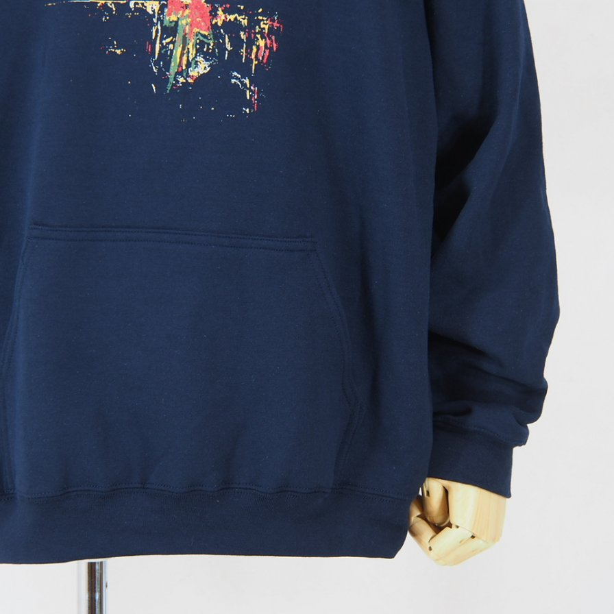 AiE - Printed Hoody - Flower - Navy
