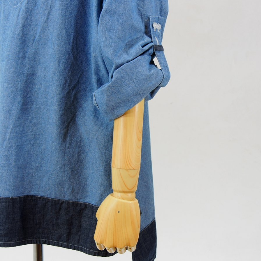 AiE - Long Tunic - 4.5oz Cotton Chambray - Lt.Blue