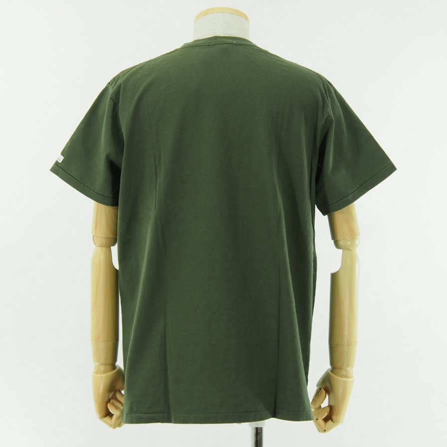 Engineered Garments - Printed Cross Crew Neck T shirt - LIC - Olive